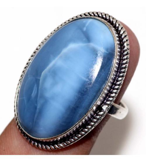 кольцо голубой Овайхи опал