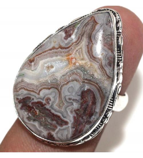 Серебряное кольцо с Мексиканским Лагуна агатом 17р