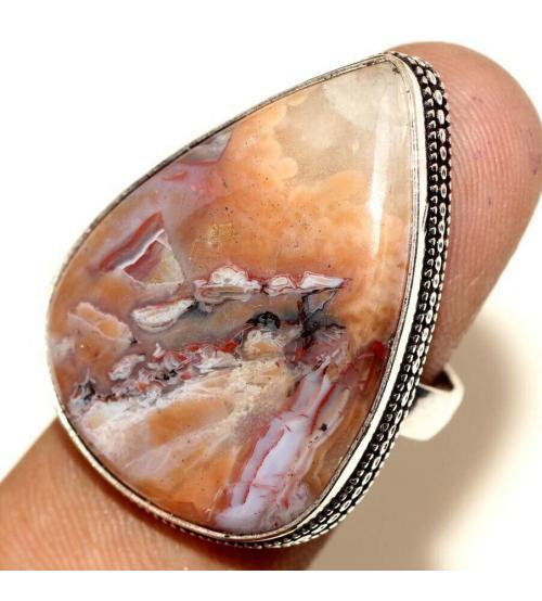 Серебряное кольцо с Мексиканским Лагуна агатом 18р