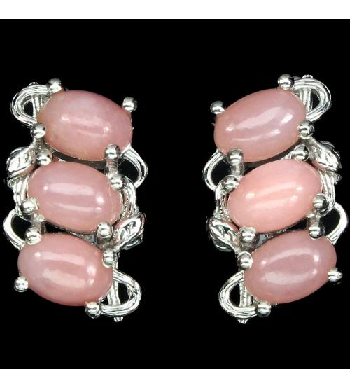 серьги с розовым опалом цена