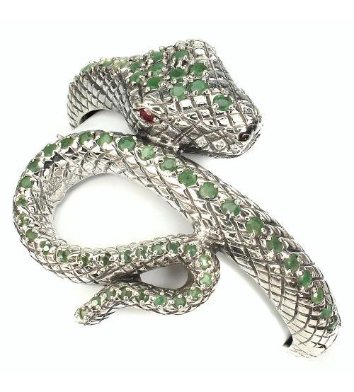 Браслет с изумрудами змея кобра
