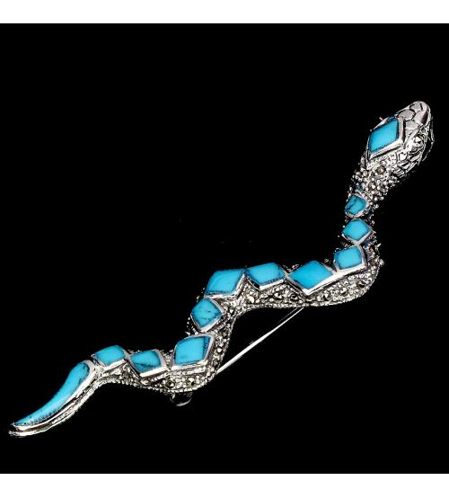 Брошь из серебра Змея Аризонская бирюза марказиты
