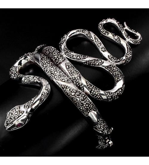 Браслет серебро марказиты змея