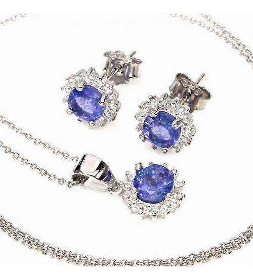 комплект украшений серебро танзанит цена