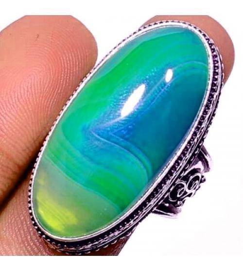 Серебряный перстень с зеленым Ботсванским агатом 19р