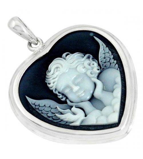 камея из серебра с ангелом цена купить