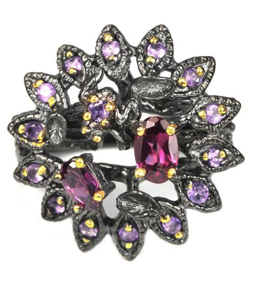 серебряное кольцо чернение с камнями