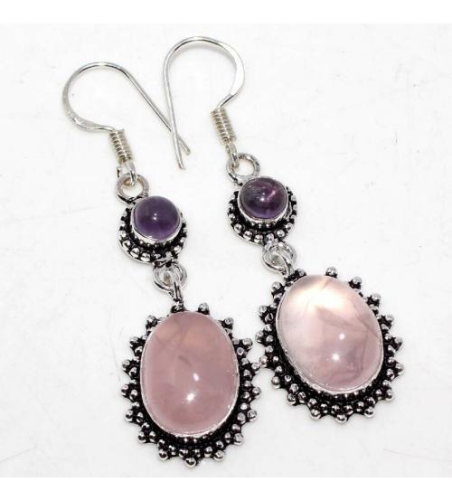 Серебряные серьги с розовым кварцем и аметистом