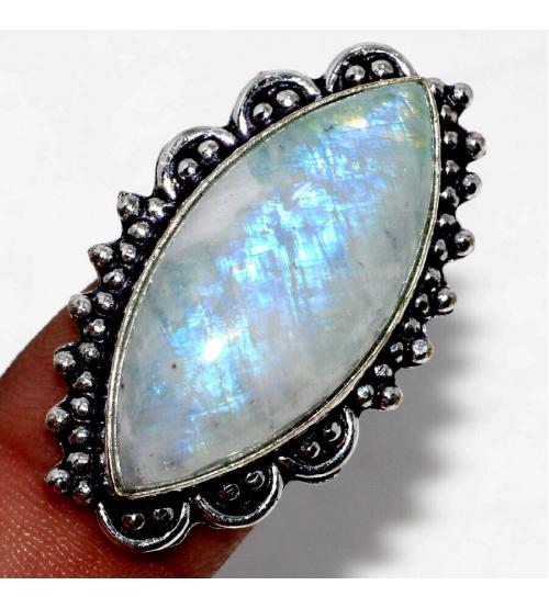 кольцо с индийским лунным камнем