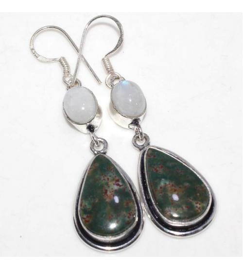 Серебряные серьги с натуральным гелиотропом и лунным камнем