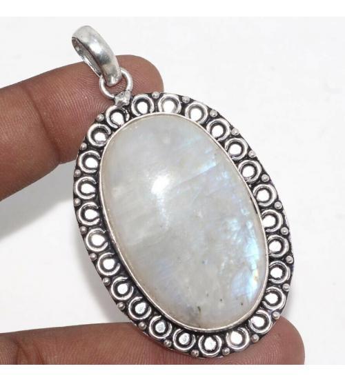 Серебряный кулон с огромным лунным камнем (Адуляром)