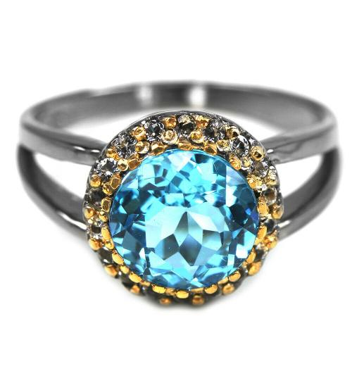 купить кольцо с топазом в черном родии цена