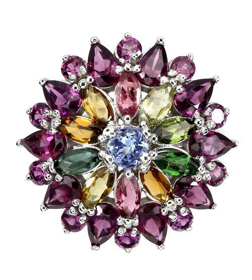 серебряное кольцо с натуральными камнями: родолит гранат, турмалин, танзанит