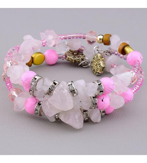браслет с розовым кварцем купить в Украине