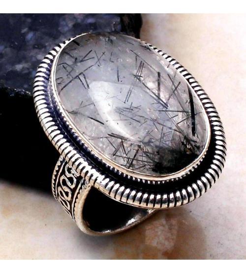 кольцо с кварцем рутиловым