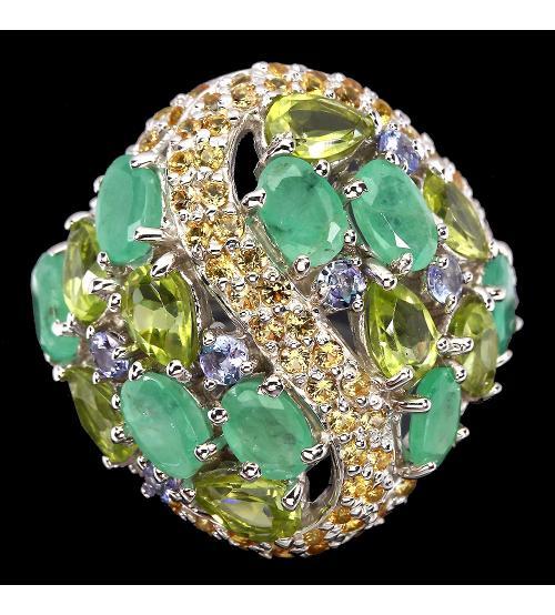 серебряное кольцо с самоцветами