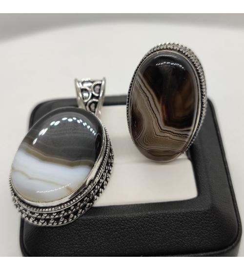 кольцо и кулон с черным агатом