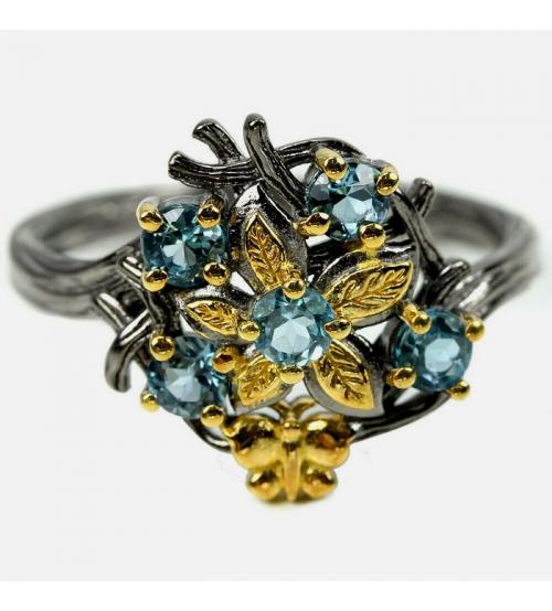 кольцо с лондон топазами