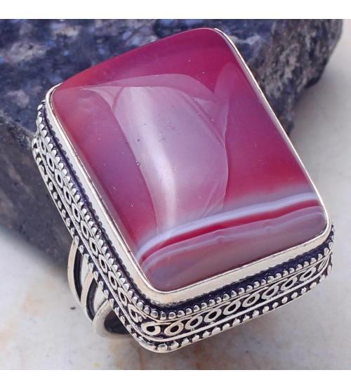 кольцо розовый агат