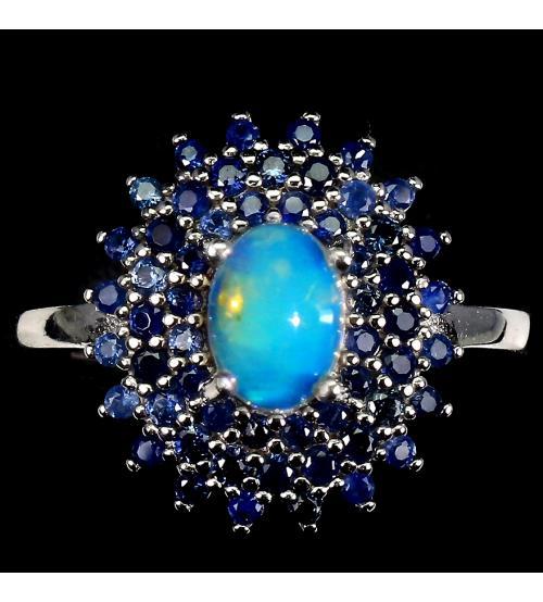 Серебряное кольцо с натуральным опалом и сапфирами Джерси 18.5р - Высокое качество. Доставка по Украине.