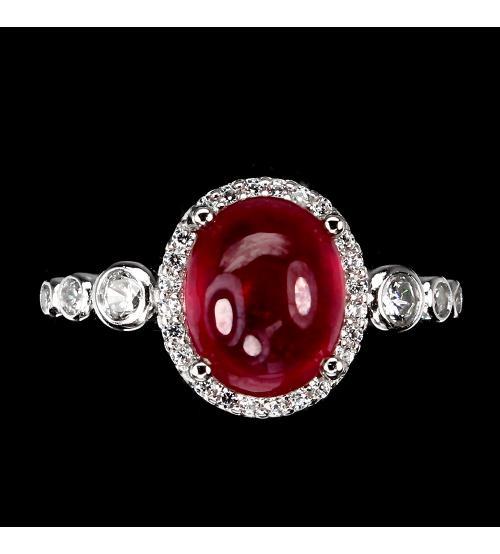 кольцо с рубином кабошон цена