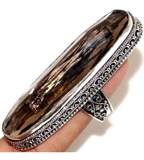 Огромный Серебряный перстень с дымчатым кварцем 20р
