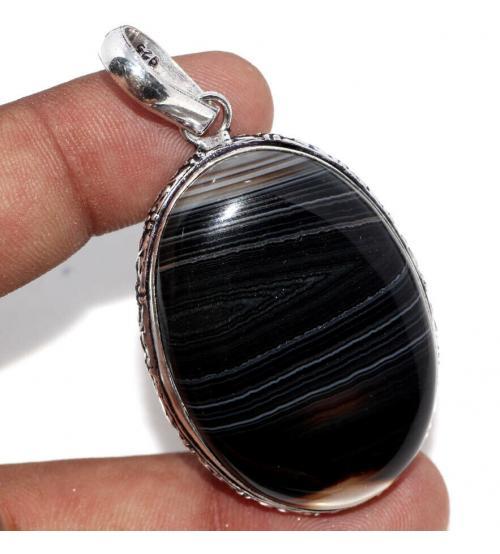 кулон черный агат