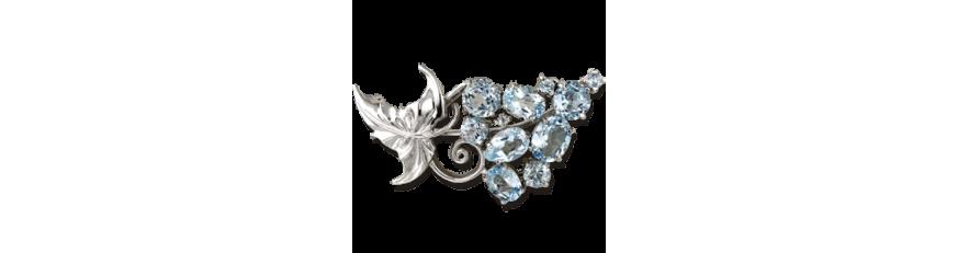 купить серебряную брошь с камнями в Украине