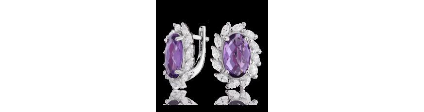 сережки с фиолетовыми камнями купить цена