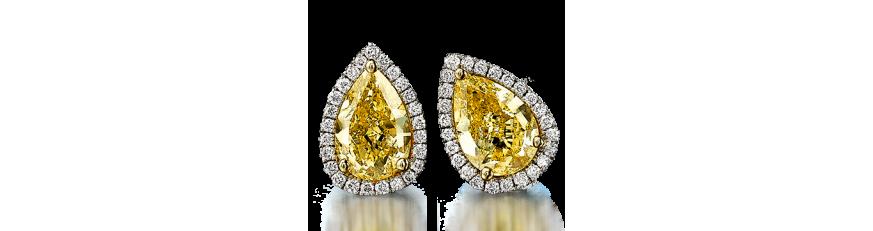 Серьги с желтыми камнями
