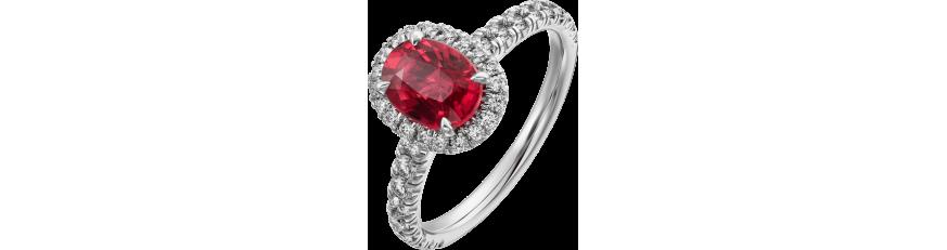 Кольца с красными камнями