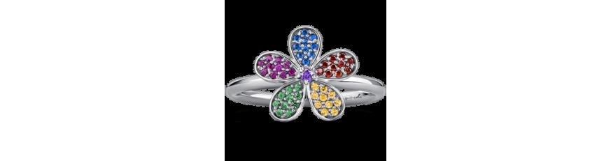 кольцо с разноцветными камнями купить в Украине